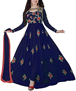 Ethnic Empire Women's Georgette Anarkali Wedding Semi Stitched Anarkali Salwar Suits (EE_FlexER10214_Blue_Free Size)