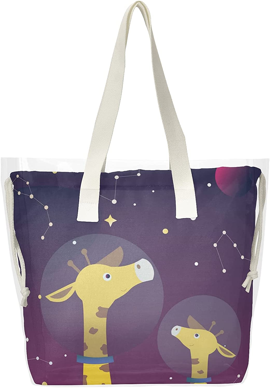 Giraffe In Minneapolis Mall OFFicial shop Galaxy Space Women Clear Tote Shoulder B Handbag Bags