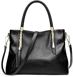 Handbag Fashion Tassel Top Layer Cowhide Bag Shoulder Slung Lady Bag