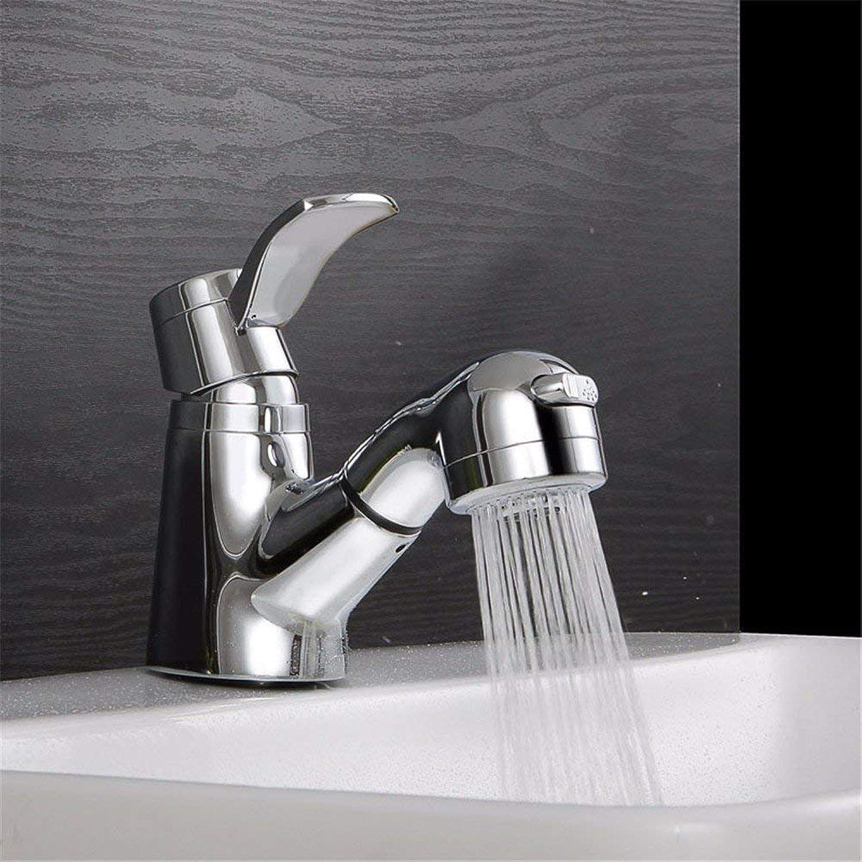 Faucet Home Silber ausziehbares warmes und kaltes Wasser Keramikventil Einloch-Einhand-Waschtischmischer