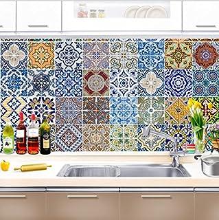 FLFK Autoadhesivo de Cemento Baño Cocina Pared portugueses Azulejos Pegatinas – 20 x 20 cm –30 Piezas