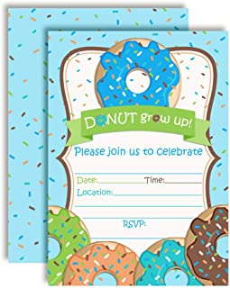 Donut Grow Up Birthday Party Invitations for Boys, 20 5