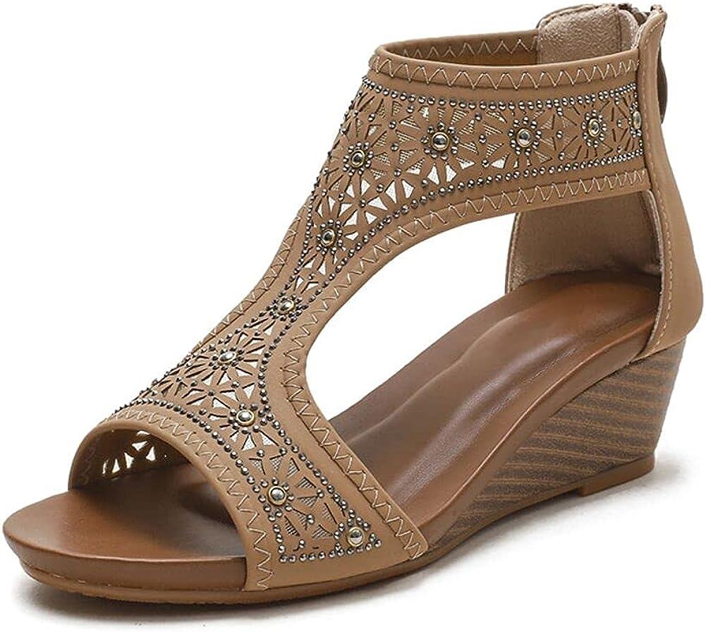 WOJWSKI Women's Slide Wedge Sandal Open Toe Max 85% OFF High Popular shop is the lowest price challenge Heel Zipper Bac