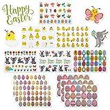 LIHAO 12 Fogli Adesivi Pasquali Autoadesivi Modelli Uova Coniglio Stickers per Bambini Fai Da Te Decorazione Pasquale