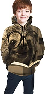 Cyloten Kid's Sweatshirt Funny Sloth Reading Books Novelty Hoodies Comfortable Warm Hooded Top Sweatshirt