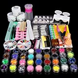 MILD EAST Nail Art Kit Set,36 Acrylic Glitter Powder Rhinestone Clipper Manicure Professional DIY Basic Nail Art Decoration Tools with Gift Box Set