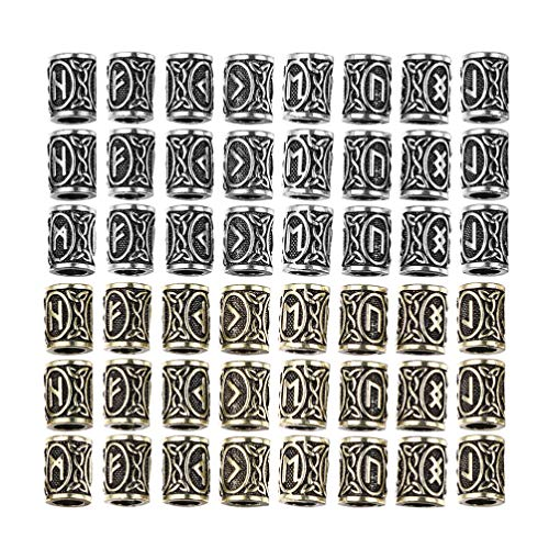 Supvox 48Pcs Viking Rune Beads Anillos Nórdicos de Plata Y Oro Cuentas de Tubo de Pelo Anillos de Rastas Cuentas de Barba de Pelo para Diy Paracord Pulsera Colgante Collar