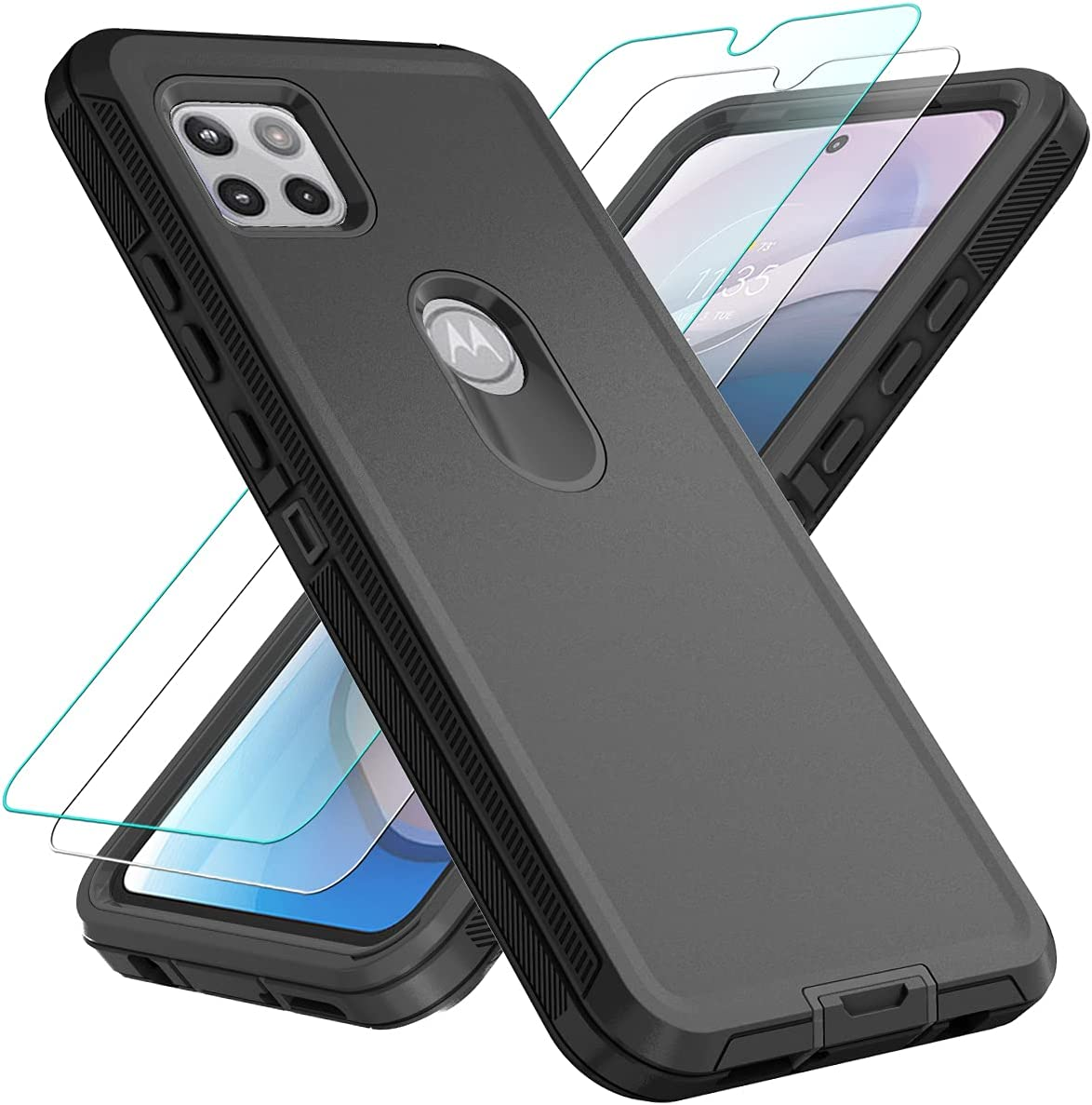 ONOLA Compatible with Moto One 5G Ace Case,Moto One 5G Ace Phone Case with Tempered Glass Screen Protector + HD Screen Protector (2 Pack),3 in 1 Durable Case for Moto One 5G Ace (Black)