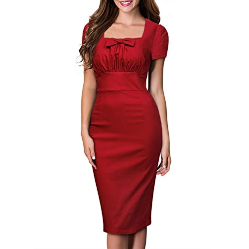 Birdfly Office Womens Plaid Patchwork Pencil Skirts Formal Working Dress with Three Quarter Sleeve Plus Size 2L 3L Red 93 Shortsleeve,M /…