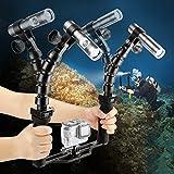 SHOOT Underwater 100M Torch Flex Arm Brazo de dos brazos 900LM Diving Flash Lights para GoPro SJCAM Xiaomi Yi Action Camera con brazos flexibles y bandeja de...