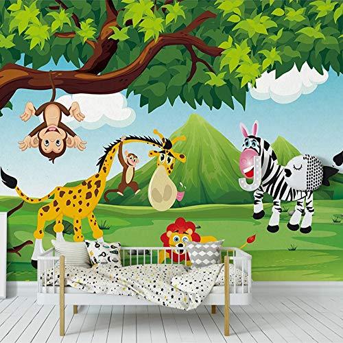 4D behang muurschilderingen, Nordic cartoon schattige aapen, zebras en giraffen dierlijke kunst afdrukken grote muurschildering fotobehang voor kinderkamer kinderkamer kleuterschool achtergrond wanddecoratie 64in×100in 160cm(H)×250cm(W)