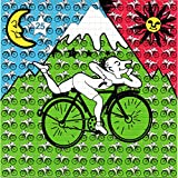 Small, Single Hoffman Bicycle Day Design Psychedelic Blotter Art Print Perforated Sheet, Acid Free LSD Art Paper 30x30, 900 tabs, 7.5 inch, in Clear Protective Sleeve