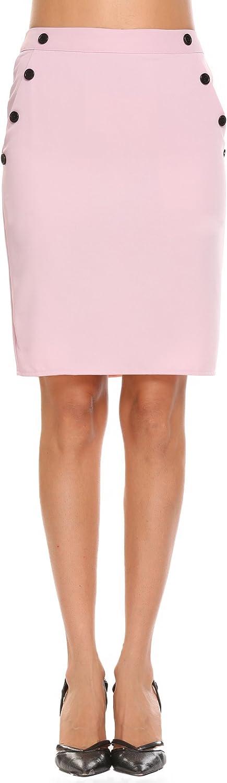 Shine Women Knee Length Straight Pencil Skirt Button Detail Pockets