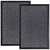 HOMWE Front Door Mats, 2 Pc Set, 29.5 x 17, All Weather Entry and Back Yard Door Mat, Indoor and Outdoor Safe, Non-Slip...
