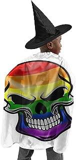 Skull with LGBT Gay Pride Rainbow Flag Kids Halloween Wizard Cloak Set Antistatic Wizard Cape Set Child's Costume Set Halloween Wizard Cape Halloween Costume Props for Children Cosplay Party