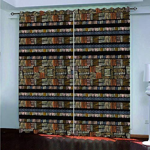 CGZLNL Cortina Opaca Infantil Impresión 3D Madera Abstracta para Sala de Estar Dormitorio Reducir el Ruido Cortinas de Ventana Opacas, Juego con Ojales, 2Paneles 75x166 cm