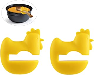 DODOGA Clip-on Spoon Rests Clip On Spoon Holder Yellow Cock Chicken Heat Resistance Silicone Pot Clip Clips Pot Holder Pot Pan Spatula Holder Spatula Rest Bracket Clip for Restaurant, Kitchen(2 Pack)