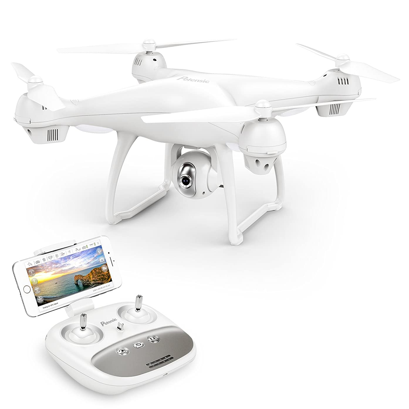 Potensic T35 GPS FPV RC Drone, 1080P Camera Live Video and GPS Return Home Quadcopter with WIFI Camera - Follow Me, Altitude Hold, 2500mAh Battery Long Control Range
