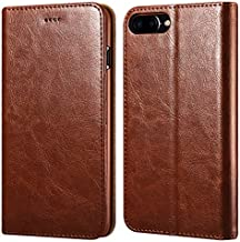 iPhone 7 Plus/8 Plus Wallet Case, ICARERCASE Premium PU Leather Folio Flip Cover with Kickstand and Credit Slots for Apple iPhone 7 Plus/8 Plus 5.5 Inch (Brown)