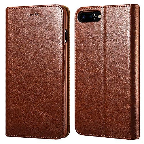 iPhone 7/8 Plus Ledertasche Hülle, ICARERCASE Wallet Ledertasche Tasche Handytasche Leder mit Standfunktion & Karte Halter & Bargeld Platz Tasche für Apple iPhone 7/8 Plus 5,5 Zoll (Braun)