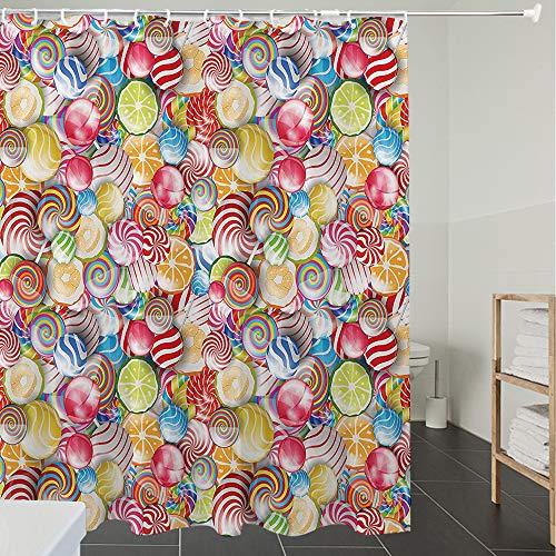 Duschvorhänge, Textil Bad Vorhang aus Polyester, Anti-Schimmel, Buntes Zuhause, Spiralzucker Süßigkeiten Lolly Pops Dessert Spaß Mädchen Kinder K,Blickdicht, Wasserdicht, Waschbar, 120X180CM