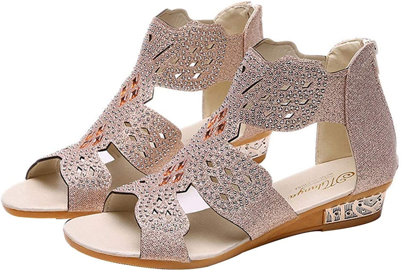 ADLISA Women Elegant Jewel Rhinestones Design Cut Out Flat Sandals Back Zip Ankle High shoes
