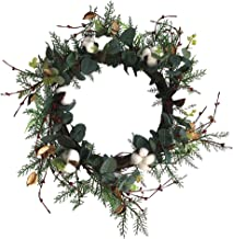 CLISPEED Christmas Wreath Grland Simulation Hanging Cotton and Eucalyptus Wreath Flowers Garland Pendant for Wall Door Sho...