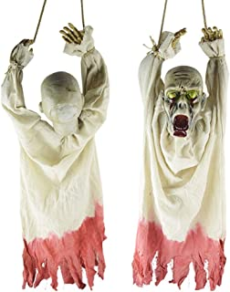 Flurries-Halloween Electric Hanging Corpse with Sound Glowing Eye Light Animated Props - Creepy Zombie Walking Dead Ghost for Indoor Outdoor Party Haunted House Prank Decoration Display (White)
