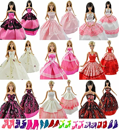 Yiding 5 Pcs Fashion Wedding Gown Dresses & Clothes 10 Shoes For Barbie Doll