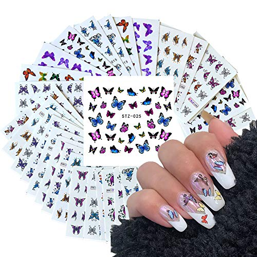 30 Sheets Butterfly Nail Art Stickers for Acrylic Nails Water Transfer Decals for Women Nail Art Design Sticker Manicure Tips Wraps Decorations Kit