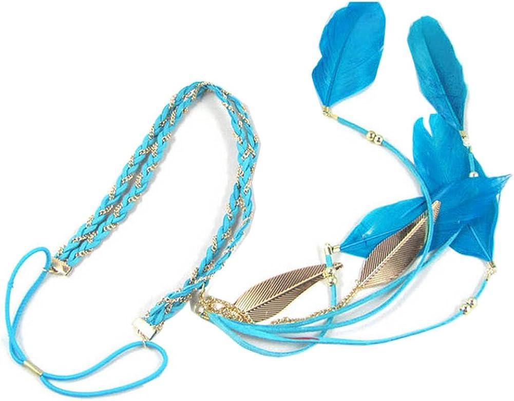 Song Qing Women Feather Leaf Tassels Braided Hippie Headband Hair Accessories