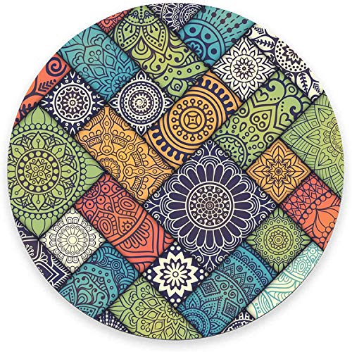 Round Mouse Pad, Geometric Mandala Mouse Pad, Cute Girly Gaming Mouse Mat Waterproof Circular Small Mouse Pad Non-Slip Rubber Base MousePads for Office Home Laptop Travel, 7.9'x0.12' Inch