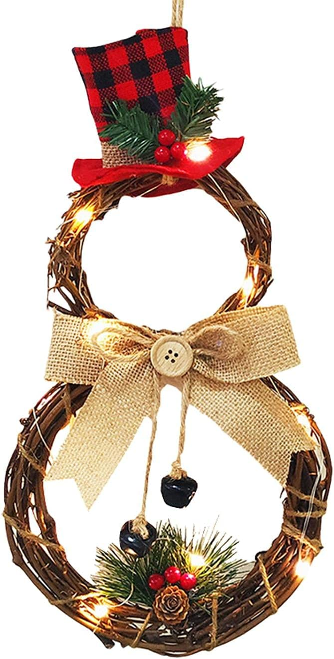 Max 75% OFF Yuhoo Christmas Door Hanging Lighted Genuine Free Shipping Wreath LED