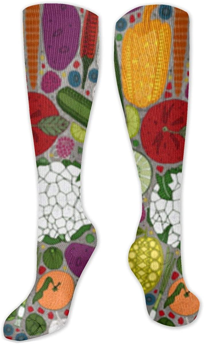 Kinds Of Vegetables And Fruits Crew Socks Novelty Casual Stockings Suitable For Running Sports Hiking