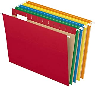 Pendaflex PFX81663 Recycled Hanging File Folders, Letter Size, Assorted Colors, Two-Tone for Foolproof Filing, 1/5-Cut Adj...