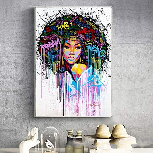wojinbao Kein Rahmen Moderne Graffiti-Kunst Leinwandbilder Abstrakte afrikanische Mädchen Poster und Druck Leinwand Schwarze Frau Cuadros Wandbilder Home Decor
