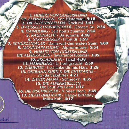 Milka Alpenrock (CD, 17 Titel, inkl. Koa Hiatamadl, Leit hoit's z'samm, Rock mi, Greane Au, Dann wirf den ersten Stein usw.)