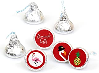 Big Dot of Happiness Flamingle Bells - Tropical Flamingo Christmas Party Round Candy Sticker Favors - Labels Fit Hershey's Kisses (1 Sheet of 108)