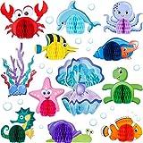 WILLBOND 12 Piezas Centro de Mesa de Panal de Criatura Marina Decoración de Mesa de Panal con Tema Oceánica Panal de Sirena Pescado para Cumpleaños Baby Shower Suministros para Fiesta