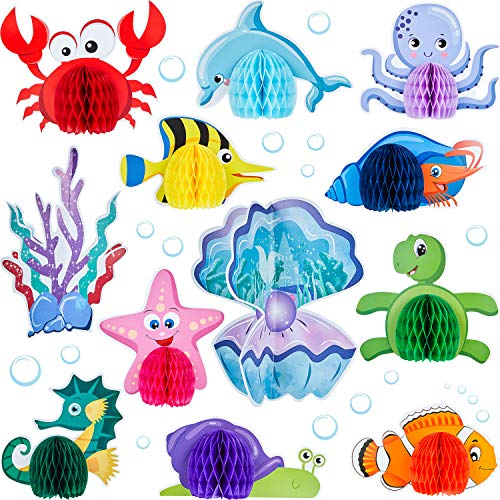 12 Pieces Ocean Sea Animal Honeycomb Centerpiece Sea Creature Honeycomb Decoration Ocean Themed Table Honeycomb Fish Mermaid Honeycomb for Birthday Baby Shower Party Supply