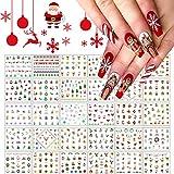 Kalolary 30 fogli Adesivi per nail art natalizi, 3D Decalcomanie autoadesive per nail art impermeabili Snowflake Elk pupazzo di neve Adesivi per unghie Per la decorazione delle unghie natalizie