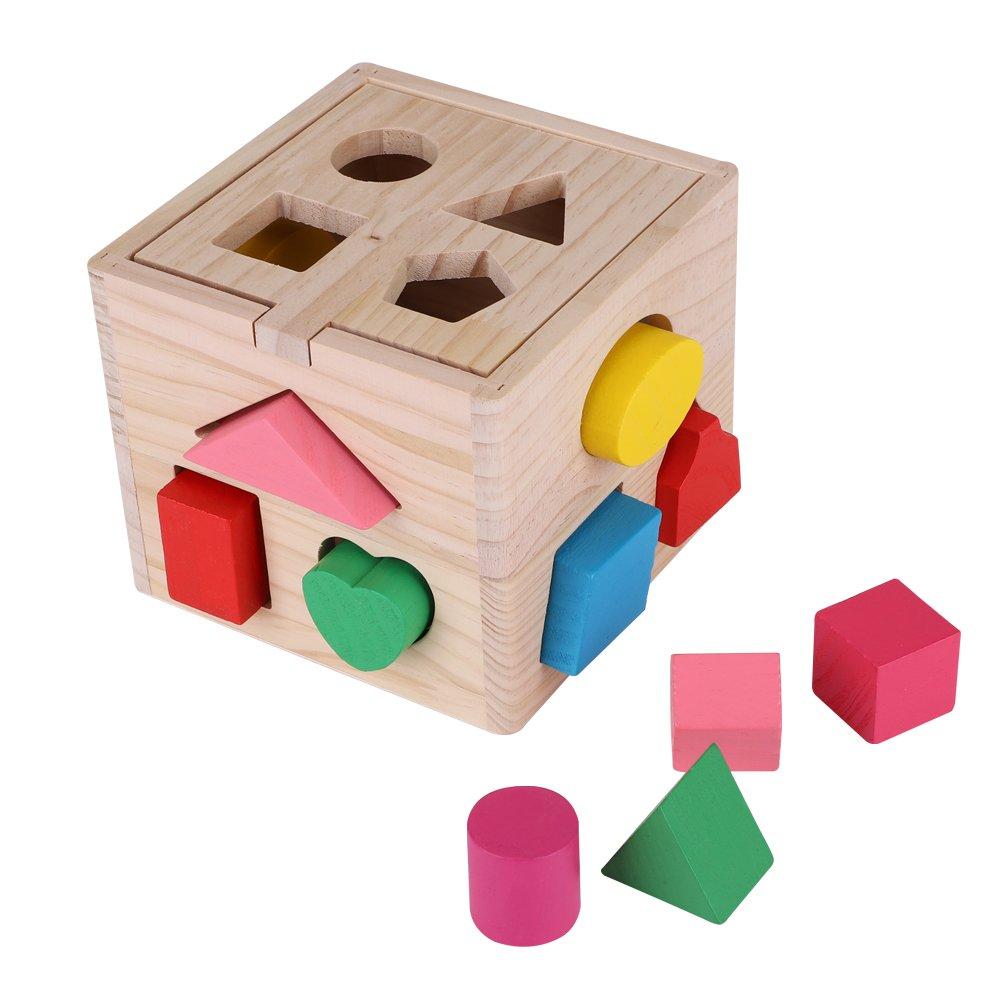 Zerodis Caja de 13 Agujeros para ordenar Juguetes educativos para niños, diseño de Rompecabezas de Madera Colorida