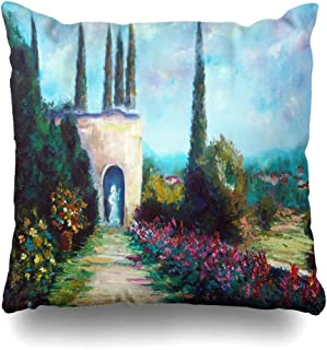 Ahawoso Decorative Throw Pillow Cover Green Blue Italian Sunny Italy Toscana Cypress Paint Nature Ancient Artistic Bush Canvas Design Home Decor Pillowcase Square Size 18