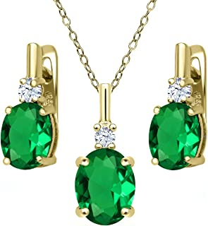 Gem Stone King 6.95 Ct Green Simulated Emerald 18K Yellow Gold Plated Silver Pendant Earrings Set