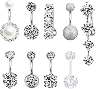 14G Stainless Steel Belly Button Rings for Women Girls Mixed Navel Rings Body Piercing Jewelry