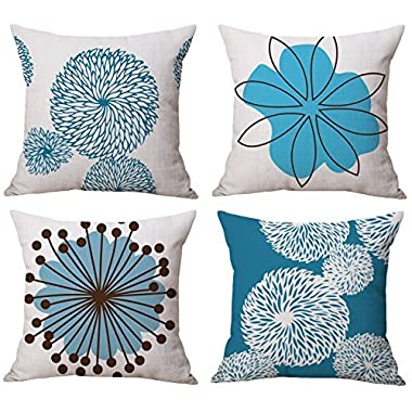 BLUETTEK Modern Simple Geometric Style Cotton & Linen Burlap Square Throw Pillow Covers, 18 x 18 Inches, Pack of 4 (Blue & White Flower)