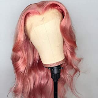 ANDRIA Pink Wigs Pink Lace Front Wigs Long Body Wave Glueless Natural Wave Transparent lace Wig Synthetic Heat Resistant F...