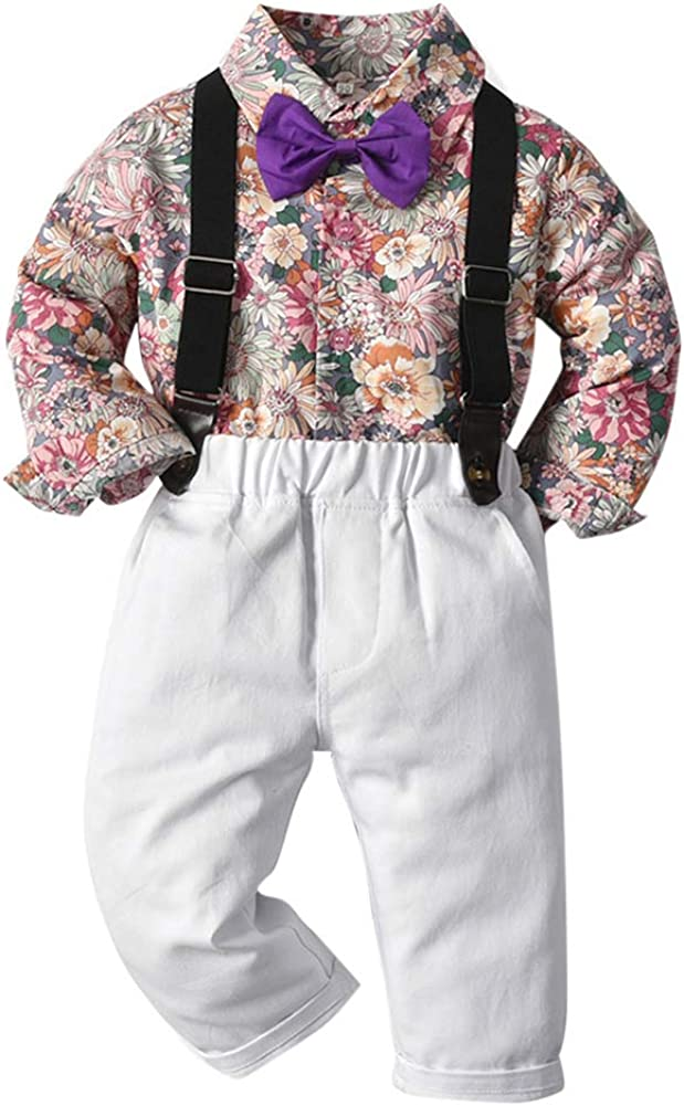 Baby Boys Overalls Floral Shirt Pants Bow Tie Gentleman Outfits Suits Clothes Pants Set