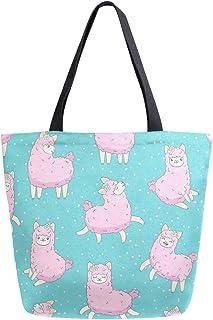 Hunihuni Hunihuni Handtasche aus Segeltuch mit niedlichem Tiermotiv, Pink Llama, groß, wiederverwendbar, Einkaufstasche, Schultertasche für Damen und Mädchen
