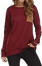 Sanyyanlsy Women's Fall Autumn O-Neck Cross Bandage Long Sleeves Ladies Solid Basic Sweatshirt Tops T-Shirt Warm Winter